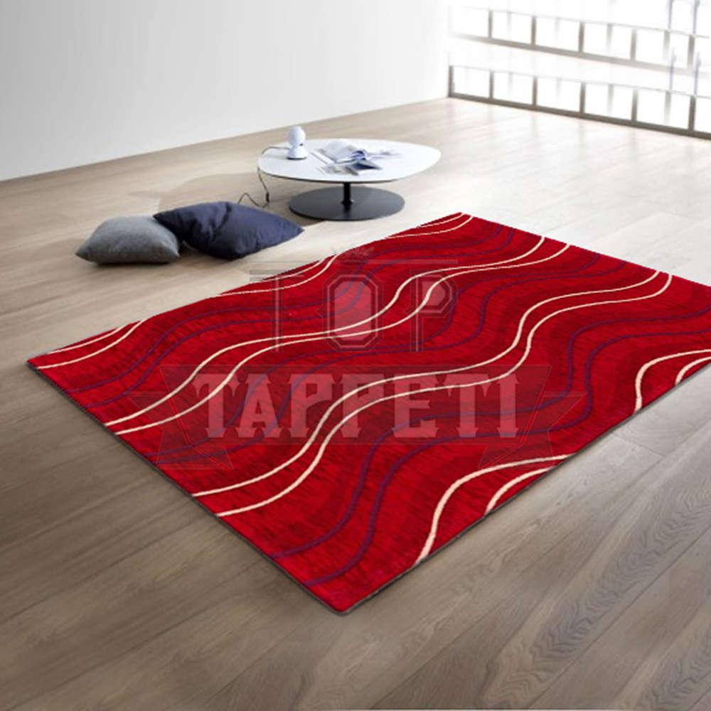 Volant tappeto moderno ciniglia jacquard rigato ondulato onda rosso