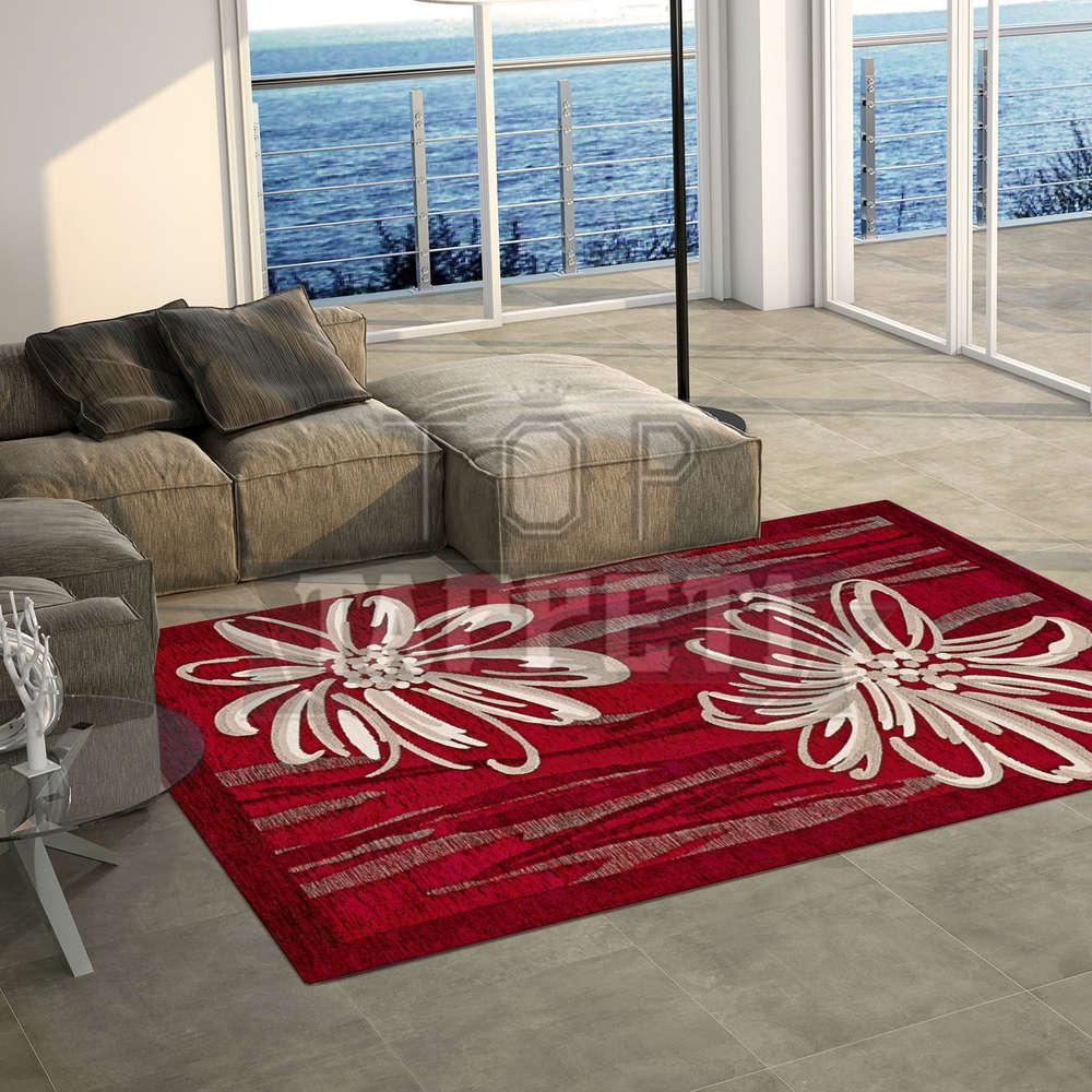Volant tappeto moderno ciniglia jacquard fiori stilizzati amethyst flower rosso
