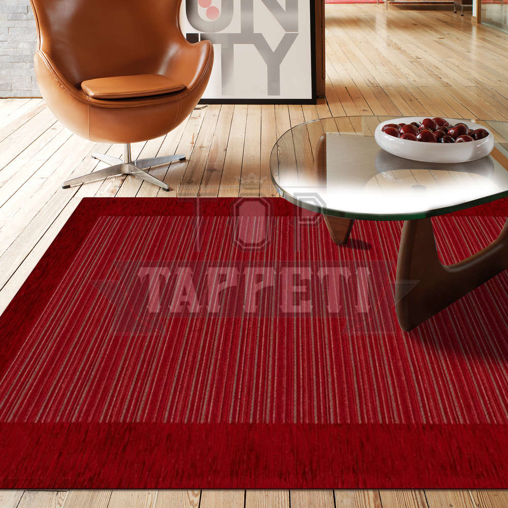 Volant tappeto moderno ciniglia jacquard rigato sottile righe stripes rosso