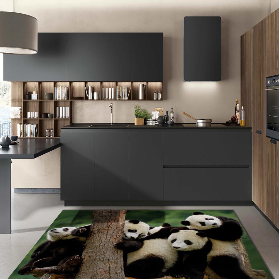 Tappeto passatoia arredo salotto cucina bagno lavabile antiscivolo stampa digitale panda - Passatoia cucina antiscivolo ...