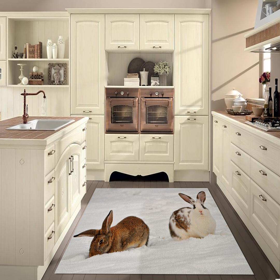 Tappeto passatoia arredo salotto cucina bagno lavabile antiscivolo stampa digitale conigli - Passatoia cucina antiscivolo ...