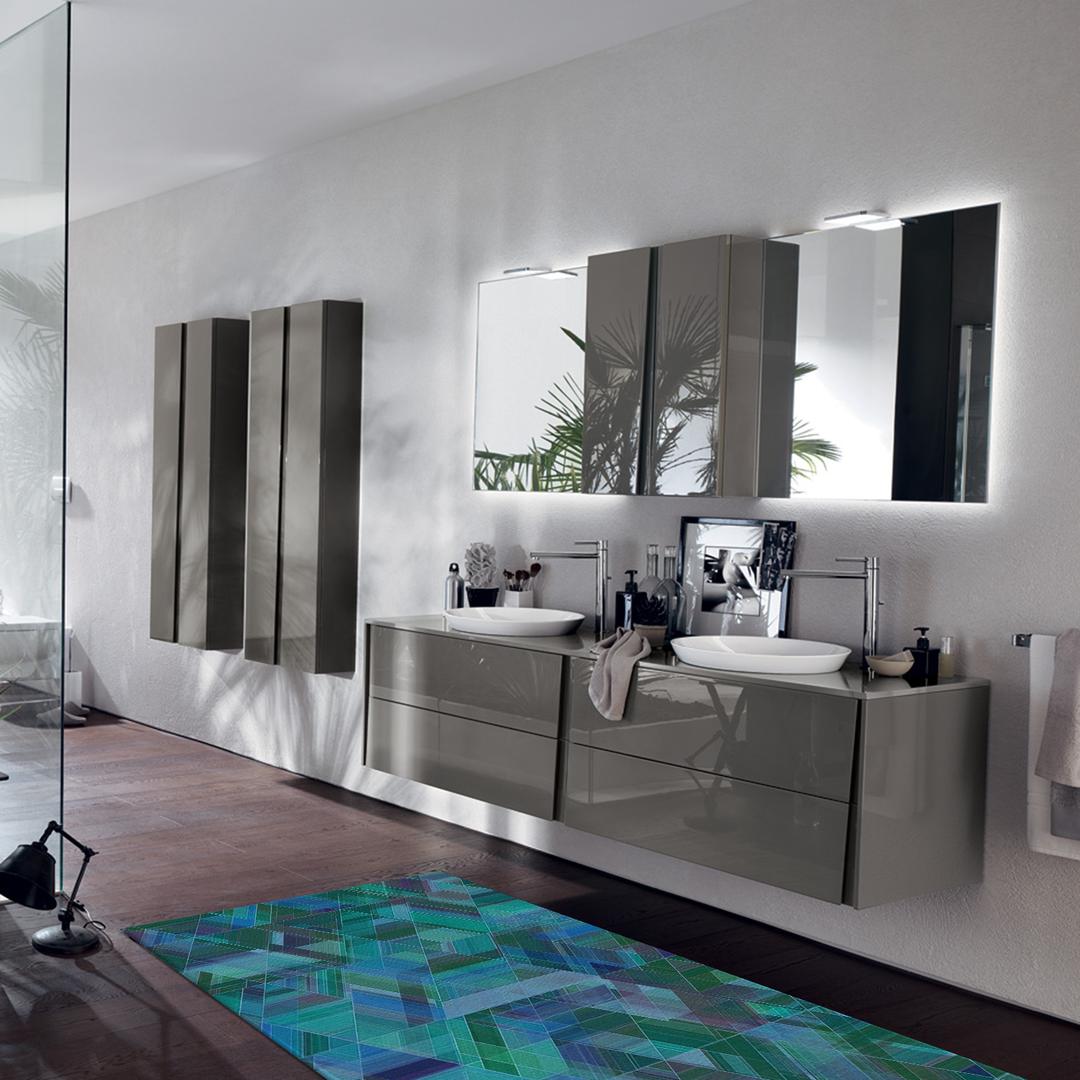 Tappeto passatoia salotto cucina bagno lavabile antiscivolo moderno geometrico verde acqua - Tappeto bagno viola ...