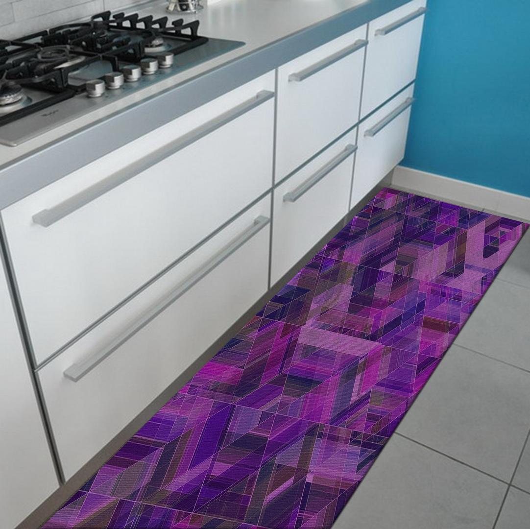 Tappeto passatoia salotto cucina bagno lavabile antiscivolo moderno geometrico viola mod5003 - Tappeto bagno viola ...