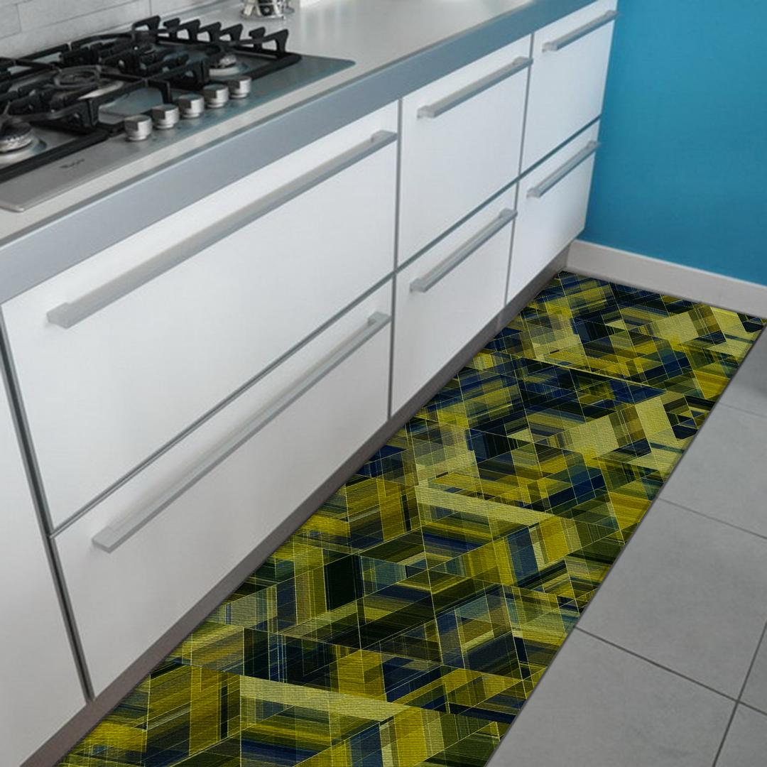 Tappeto Passatoia Salotto Cucina Bagno Lavabile Antiscivolo Moderno  Geometrico Verde - MOD5005