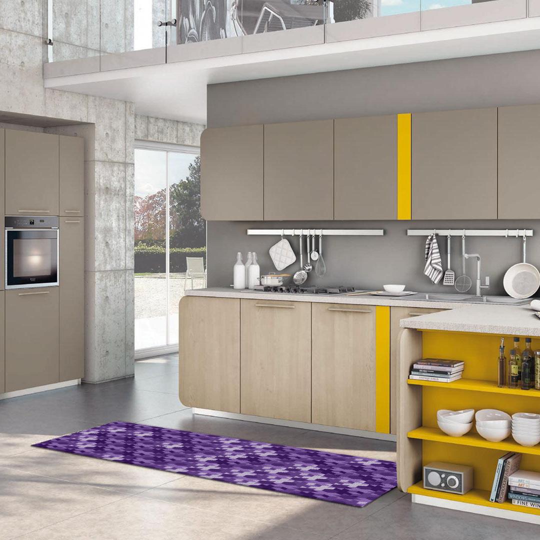 Tappeto Passatoia Salotto Cucina Bagno Lavabile Antiscivolo Moderno  Geometrico Croce Viola - MOD5017