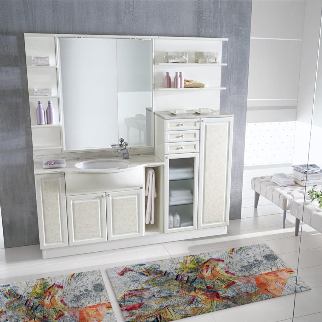 Tappeto salotto cucina bagno lavabile antiscivolo moderno geometrico astratto giallo mod5028 - Tappeto bagno moderno ...