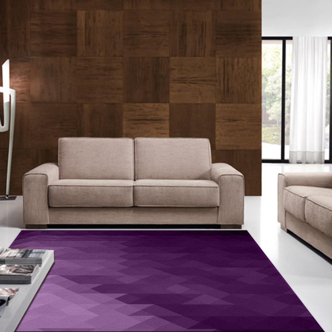 Tappeto salotto cucina bagno lavabile antiscivolo moderno geometrico triangolo viola mod5044 - Tappeto bagno viola ...
