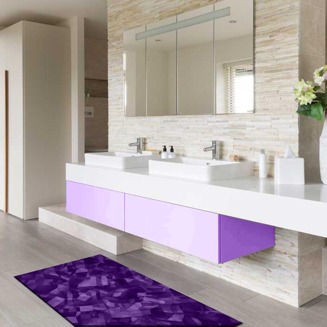 Tappeto passatoia salotto cucina bagno lavabile antiscivolo moderno astratto viola mod5072 - Passatoia cucina antiscivolo ...