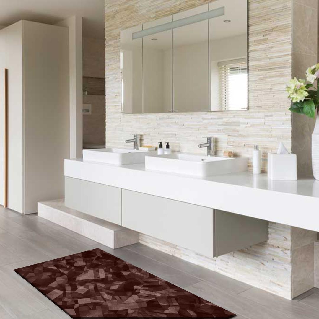 Bagni Moderni Marroni.Tappeto Passatoia Salotto Cucina Bagno Lavabile Antiscivolo Moderno Astratto Marrone Mod5077