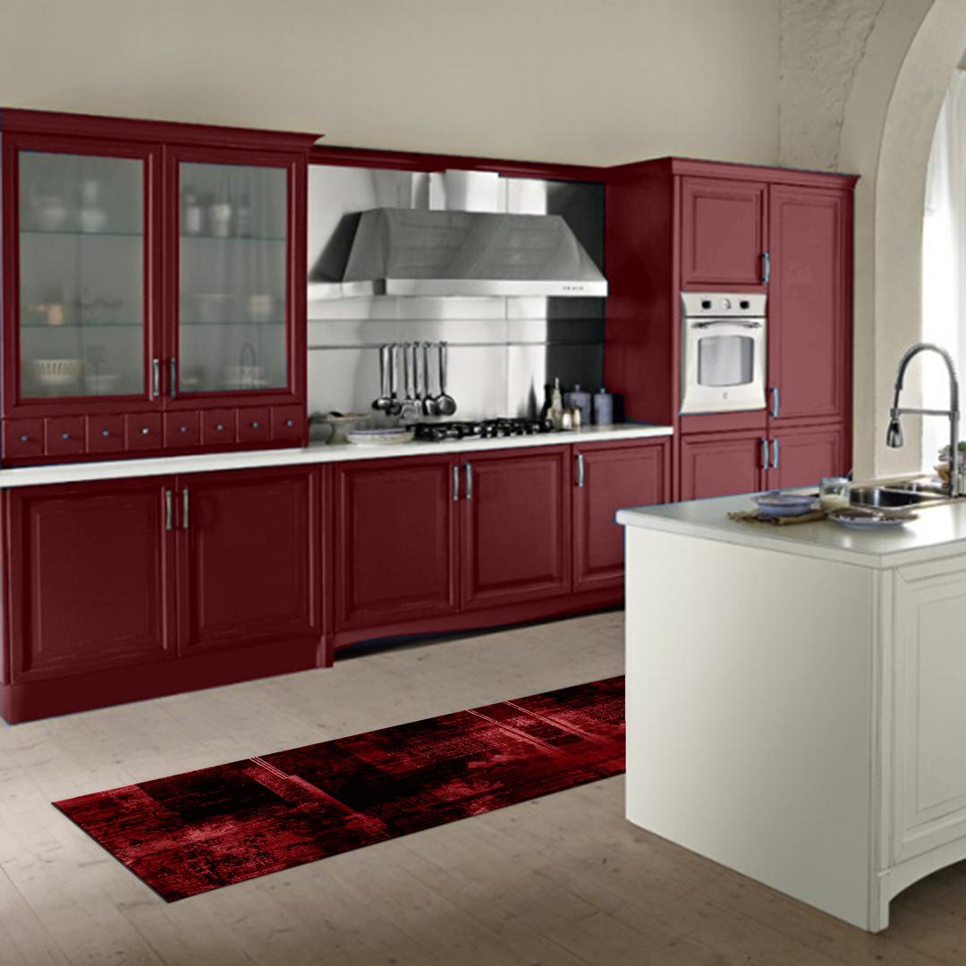 Tappeto passatoia salotto cucina bagno lavabile antiscivolo moderno sfumato rosso mod5112 top - Passatoia cucina antiscivolo ...