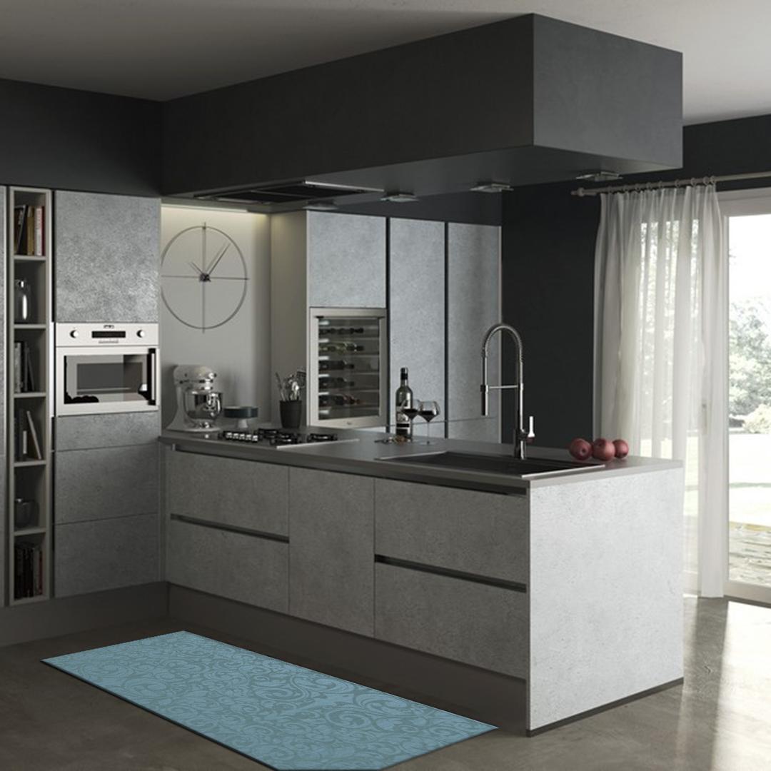 Tappeto passatoia salotto cucina bagno lavabile antiscivolo moderno disegni azzurro mod5128 - Passatoia cucina antiscivolo ...