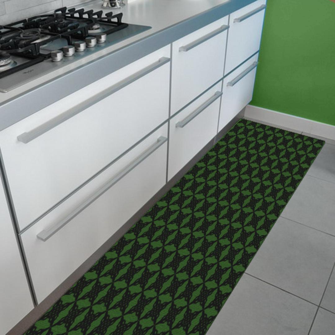 Tappeto Passatoia Salotto Cucina Bagno Lavabile Antiscivolo Moderno  Gemetrico Croce Verde- MOD5136