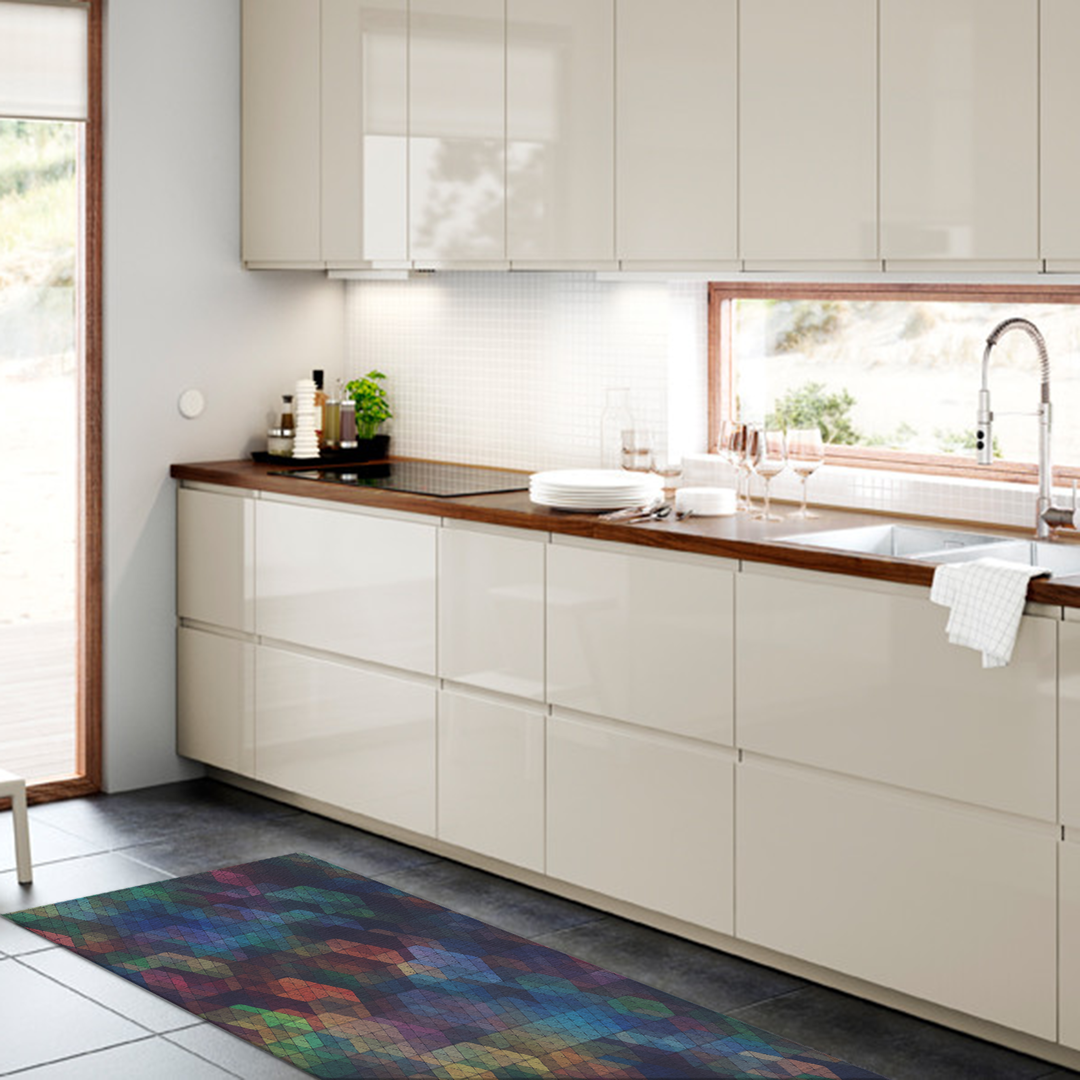 Tappeto salotto cucina bagno lavabile antiscivolo moderno gemetrico rombi multicolore mod5144 - Tappeto bagno moderno ...
