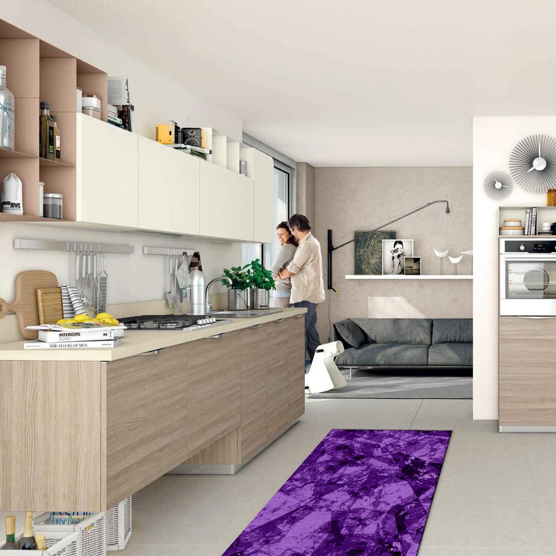 Tappeto passatoia salotto cucina bagno lavabile antiscivolo moderno geometrico viola mod5170 - Passatoia cucina antiscivolo ...