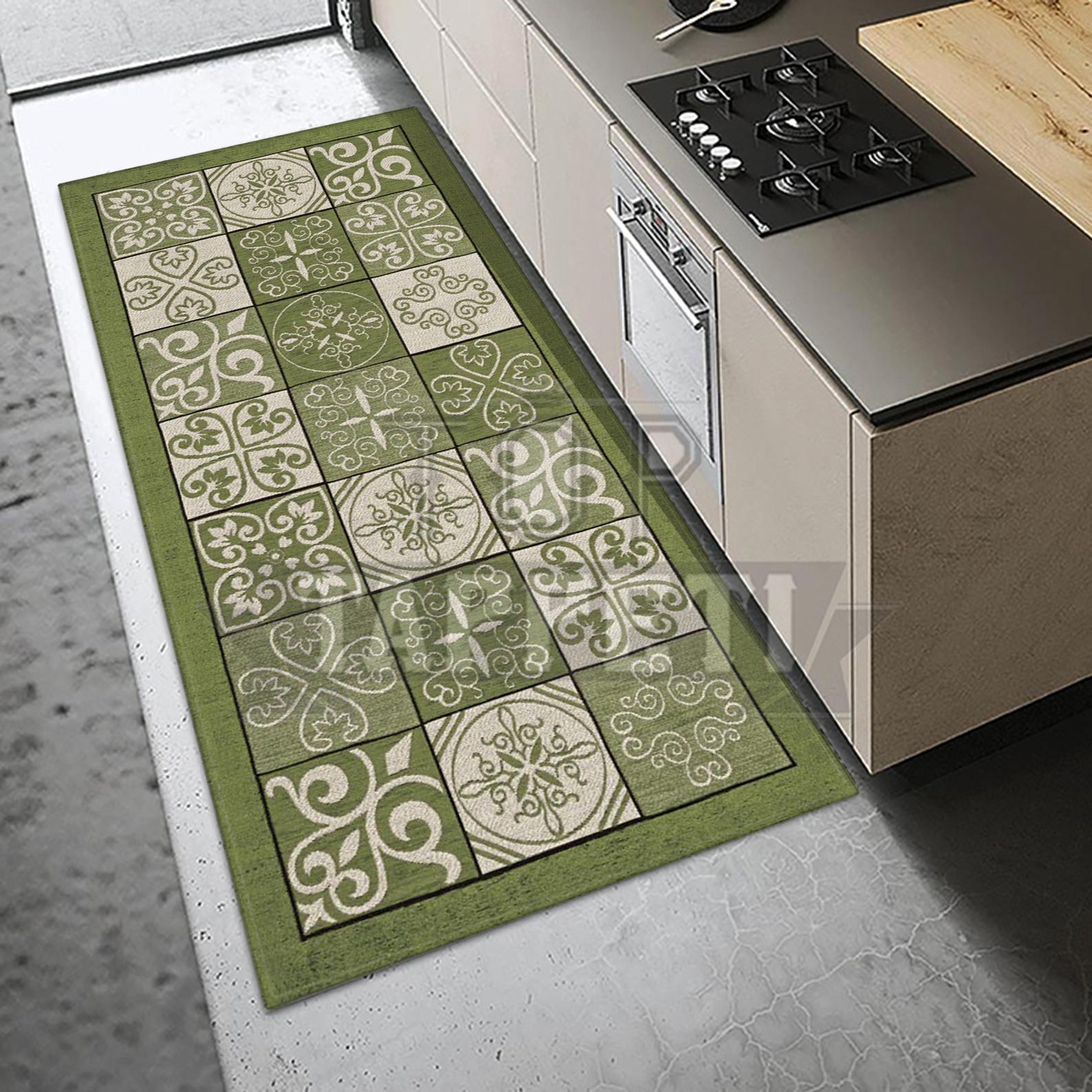Majolica grigio tappeto passatoia cucina bagno lavabile - Bagno verde salvia ...