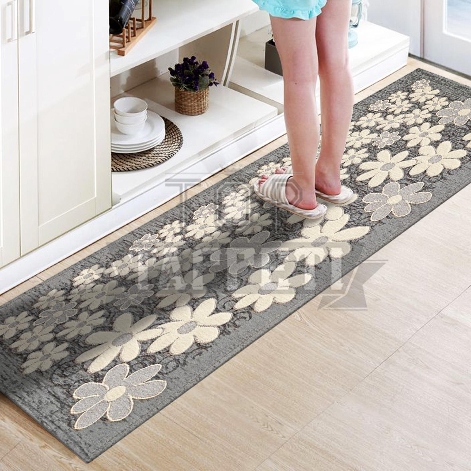 Margherita grigio tappeto passatoia cucina bagno lavabile antiscivolo fiori ebay - Tappeti cucina antiscivolo ...