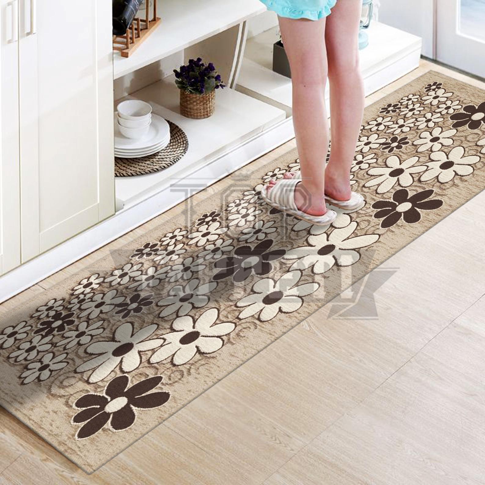 Margherita grigio tappeto passatoia cucina bagno lavabile antiscivolo fiori ebay - Tappeti cucina ebay ...